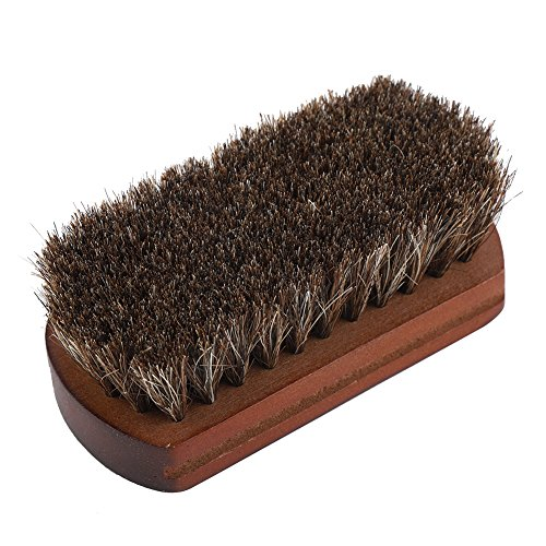 Fdit Shoes Brush Horse Hair Scrub Boots Polishing Buffing Cleaning Brush with Wooden Base Dust Dirt Removal Shoe Accessory
