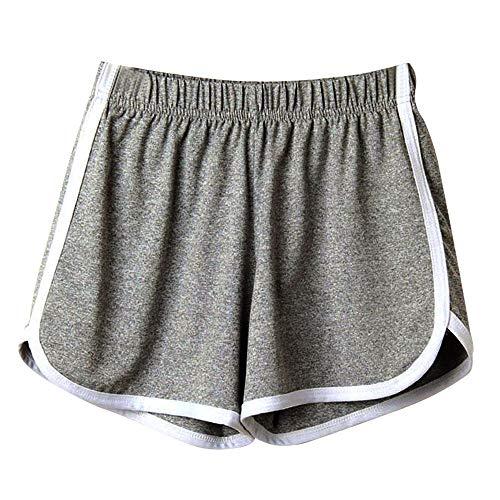 MMOOVV Damen Sommer Sport Shorts Retro Shorts Aktiv Yoga Shorts Hose mit Farbig Abgesetzen Rändern Strand Kurze Hosen