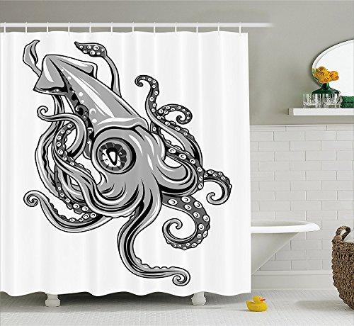 [Kraken Decor Shower Curtain Squid Fish with Fins Sea Spiritual Animal Cuttlefish Underwater Alien Artisan Print Fabric Bathroom Decor Set with Hooks] (Squid Costume Ebay)