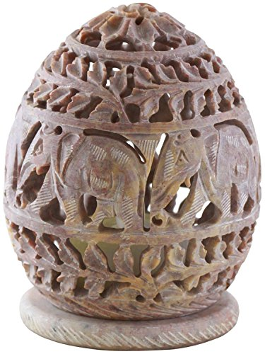 Avs Stores Handmade Elephant Shaped Carved Soapstone Oval Shaped Tea Light Candle Holder with Jali (4 Inches)