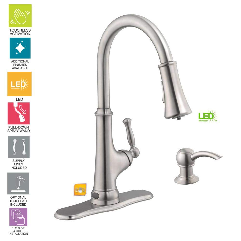 Amazon Com Glacier Bay Touchless Led Single Handle Pull Down Sprayer Kitchen Faucet With Soap Dispenser In Stainless Steel Model 67536 0508d2 0710587909374 Books