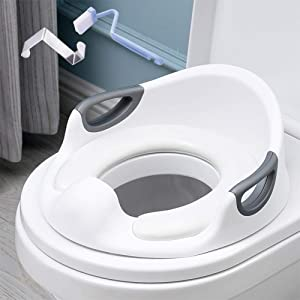 Potty Training Seat for Baby Kids Toddlers Toilet Potty Training Seat for Boys and Girls with Detachable Soft Cushion Anti-Slip Rubber Grip Sturdy Handle and Backrest (White)