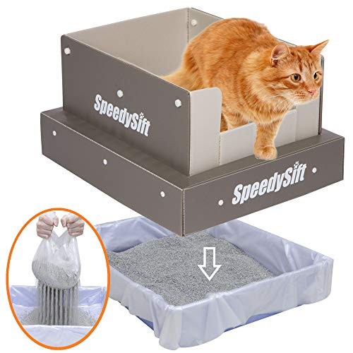 SpeedySift Cat Litter Box + 56ct New Improved Sifting Liners + Multi-Function High-Sided Lid, Claw-Resistant