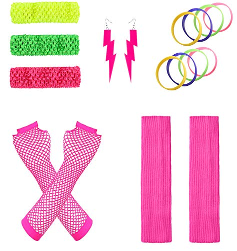JustinCostume Women's 80s Outfit Accessories Neon Earrings Leg Warmers Gloves, A]()