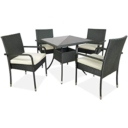 Pleasant Amazon Com Lovinland 5 Pcs Cushioned Outdoor Wicker Patio Machost Co Dining Chair Design Ideas Machostcouk