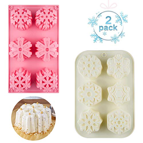 NPLUX 2Pack 3D Snowflake Mold Christmas Molds for Making Soap Candle Sugar Craft Winter Decorations
