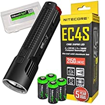 NITECORE EC4S 2150 Lumen high intensity CREE LED tactical die-cast flashlight with 4X EdisonBright CR123A Lithium Batteries and BBX3 carry case by EdisonBright