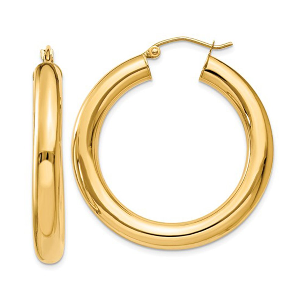 14K Yellow Gold Thick Tube Hoop Earrings with Click-Down Clasp, (5mm Tube) (35mm)