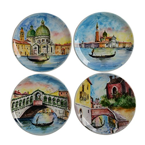 Italian Dinnerware - Appetizer Plates (set of 4) - Handmade in Italy from our Veneto Collection (7 Piece Venice)