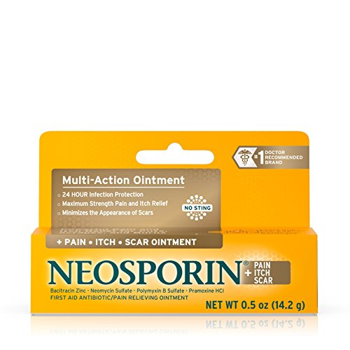 Strength First Aid Antibiotic Ointment (Neosporin + Pain, Itch, Scar Antibiotic Ointment, .5 Oz)