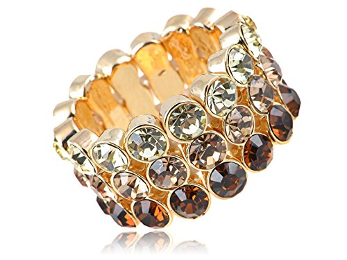 Alilang Stretchy Golden Tone Ombre Multi Colored Rhinestones Layered Ring