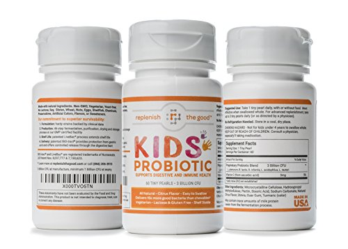 (Kids Probiotics, 60-Day Supply. Easy to Swallow Daily Pearl Probiotic for Kids. Sugar Free Childrens Probiotic, 15x More Effective Than Gummies. Antibiotic Recovery Probiotic for Children)