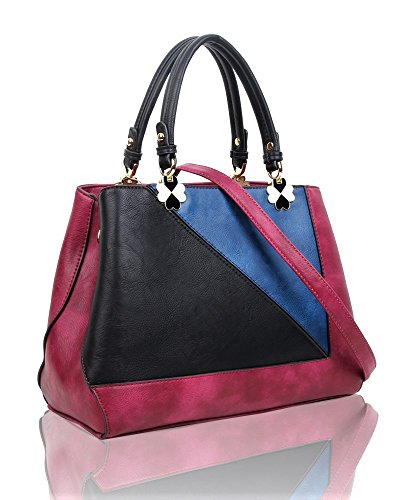 SwankySwans - Violet Color Block Handbag, Borse Tote Donna Rosa (Fuschia)