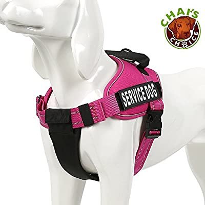 """Service Dog Vest Harness - Chai's Choice Best with 2 Reflective """"Service Dog"""" Patches and Sturdy Handle. Matching Chai's Choice Padded 3M Reflective Leash Available. Please see Sizing Chart at left."""