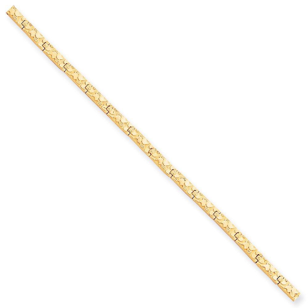 Lex & Lu 10k Yellow Gold 4.0mm Nugget Bracelet-Prime