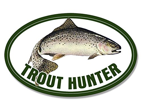 American Vinyl Oval Trout Hunter Sticker (Fishing Fish Rainbow Fisher Lure) - Oval Vinyl Sticker