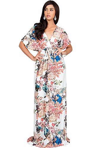 KOH KOH Women Long Kimono Sleeve Short Sleeves V-Neck Vintage Floral Print Summer Hawaiian Casual Cocktail Sundress Sun Gown Gowns Maxi Dresses, Ivory White M (Vintage Kimono Print Dress)