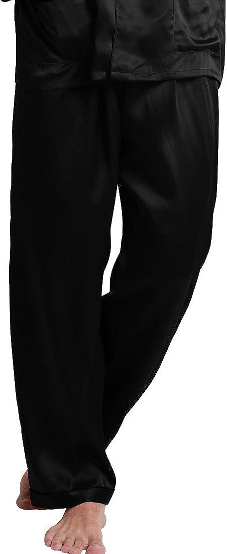LilySilk Mens Silk Pajama Pants 22 Momme Full Length 100% Pure Silk Sleep Pants, Lounge Evening Sleeping Bottom