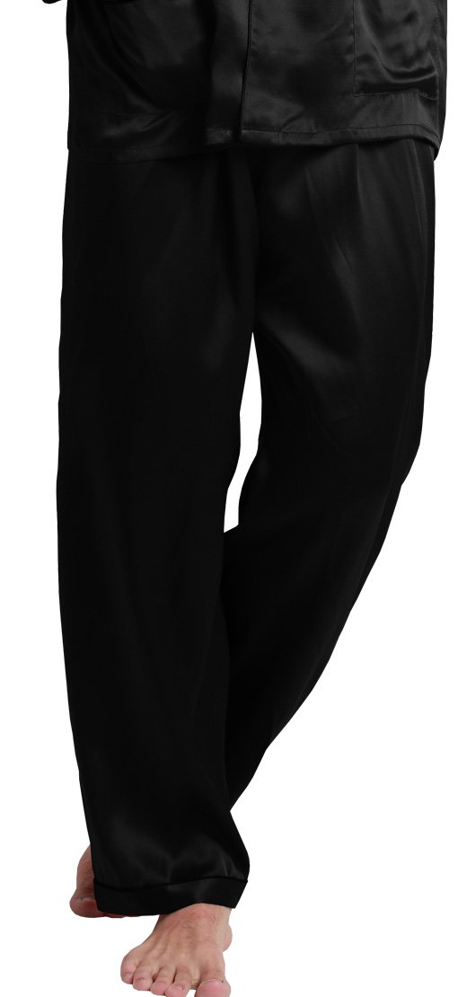 LilySilk Silk Pajama Pants For Men 22 Momme Soft Comfortable Contra Trim Full Length 100% Mulberry Pure Silk Black- XL/42
