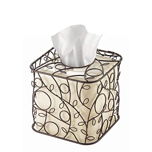 (InterDesign Twigz Plastic and Metal Facial Tissue Box Cover, Boutique Container for Bathroom Vanity Countertops, 6