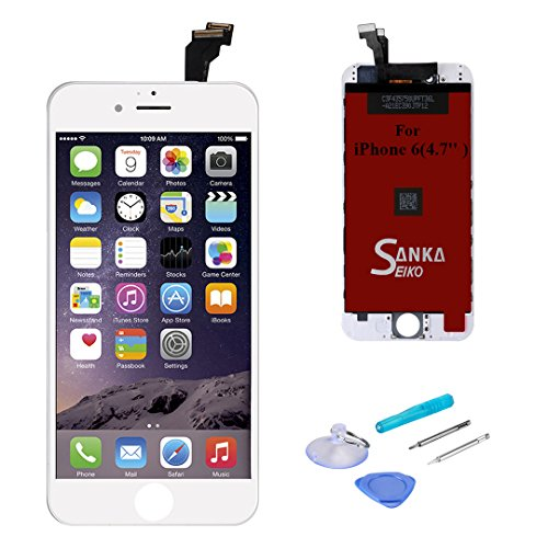 - SANKA iPhone 6 LCD Screen Replacement White, Digitizer Display Retina Touch Screen Glass Frame Assembly for iPhone 6 4.7 inch - White (Free Tools Included, Ship from USA)