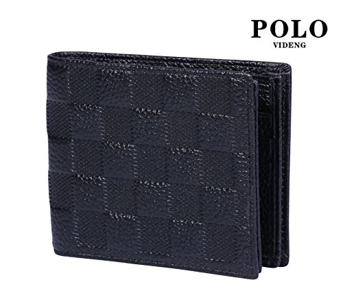 VIDENG POLO WL20 RFID Blocking Business Full Grain Leather Check Embossed Wallet for Men (wlc-black)