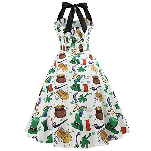 4 up Hepburn Femmes Robe Moulante Soire de Soire Floral Manches Lonshell Vintage Style Robe pin Robe Blanc 1950 Licou Audrey Dcontracte Imprim de 's Cocktail TrZpqTSxw