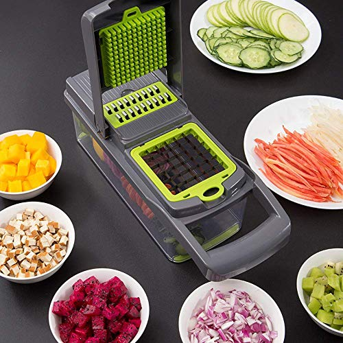 Vegetable chopper, Onion chopper Mandoline Slicer with Stainless steel blade Include Clean Brush and Hand Guard Made in USA (Black)