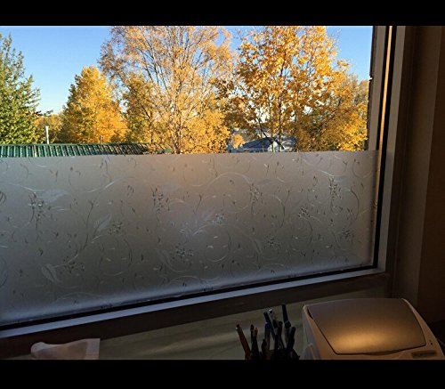 VEOLEY Window Film Static Cling Vinyl Privacy Glass Films Decorative for Home 1.5Ft x 6.5Ft Per Roll