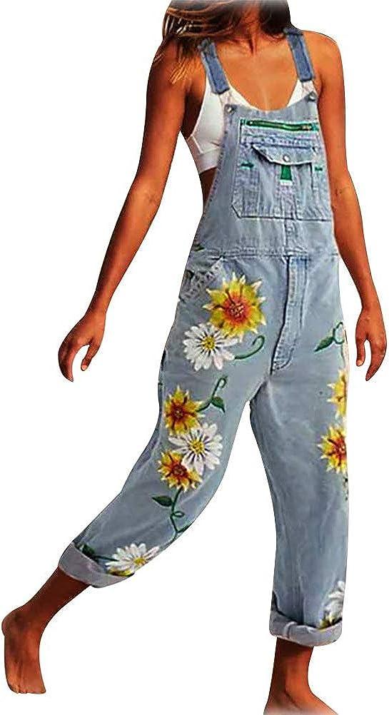 Romose Women Denim Dungarees Straight Leg Jeans Pockets Vintage Loose Fit Flowers Playsuit Romper Baggy Jumpsuit