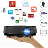 2600 Lumen Smart Portable Wireless Projector LCD LED Mini Bluetooth Proyector Support 1080P HD 720P, HDMI/USB/3.5mm Audio out/VGA/AV Multimedia Outdoor Movie Projectors for PS4 Xbox TV Stick PC