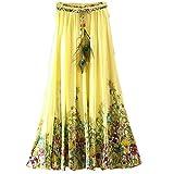 Ashir Aley Floral Bohemian Chiffon Long Maxi Skirt (Yellow)