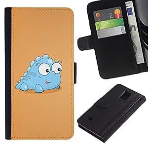 """Samsung Galaxy Note 4 IV / SM-N910 , la tarjeta de Crédito Slots PU Funda de cuero Monedero caso cubierta de piel ("""" Little Dinosaur Light Blue Creature Cartoon Art"""")"""