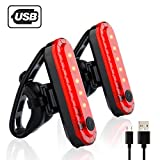 Rear Bike Tail Light 2 Pack,Ultra Bright USB Rechargeable Volcano Bicycle Taillights,Red High Intensity Led Accessories Fits On Any Road Bikes,Helmets.Easy to Install for Cycling Safety Flashlight