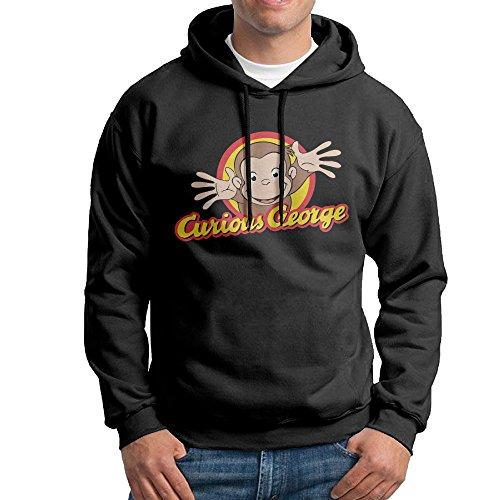 KPaIil Curious George Pullover Hooded Men's Black Sweatshirt Hoodie
