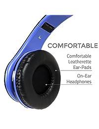 BestGot - Auriculares infantiles con micrófono para niños y adultos con volumen en línea, bolsa de transporte impermeable, auriculares plegables con conector de 0.138 in extraíble Negro Azul