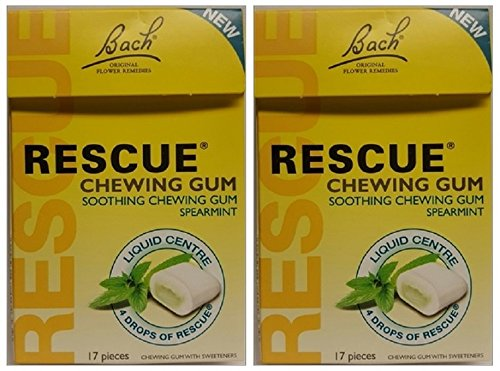 Bach Flower Essences Rescue Chewing Gum, 17 pc (Pack of 2)