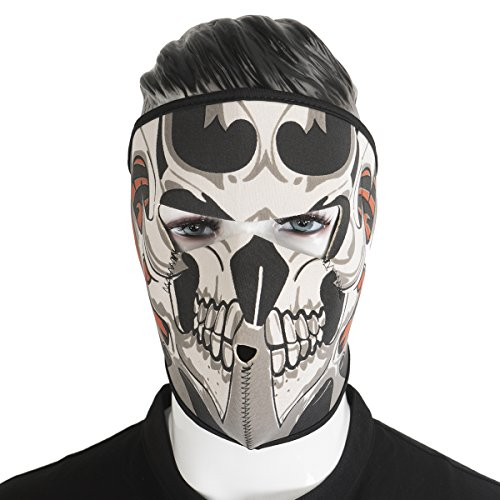 2 In 1 Reversible Skull Neoprene Full Face Mask Biker Motorcycle Snowboard Ski Mask Shield Guards