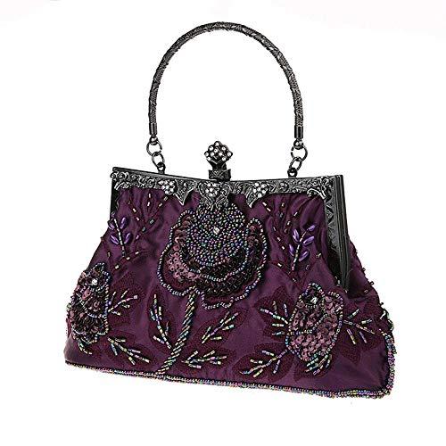 Vintage Lentejuelas Con Dejar se Jumedy Negro Cuentas Puede Estilo Purple Mano De Banquete color 6plus Bolso Embrague Étnico Cuentas Flor zzZqgt0
