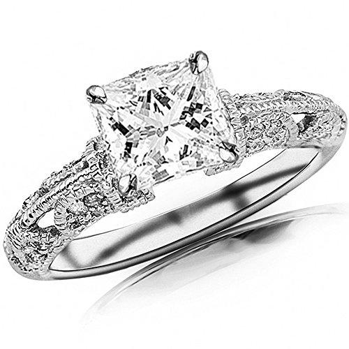 14K White Gold 0.63 CTW Princess Cut Vintage Pave Set Round Diamond Engagement Ring, H-I Color VS1-VS2 Clarity, 0.33 Ct (Vintage Cut Diamond)