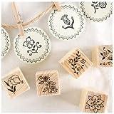 12 Kinds Korea DIY Decoden Wooden Stamp Set Rubber Stamps - Flowers
