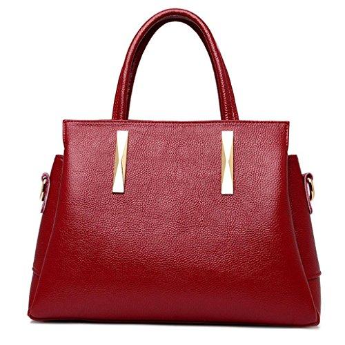 NVBAO Sacchetto di spalla del sacchetto della borsa della borsa di cuoio delle signore Sacchetto di spalla singolo Grande capienza Shopping Turismo, wine red wine red