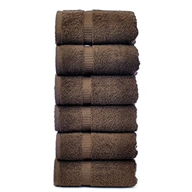 Luxury Hotel & Spa Towel Turkish Cotton (Hand Towel - Set of 6, Cocoa)(16 X 30)