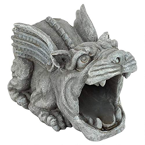 Design Toscano Roland the Gargoyle Gutter Guardian Rain Downspout Extension Statue, 10 Inch, Polyresin, Full Color (Gargoyle Large Concrete Statues)