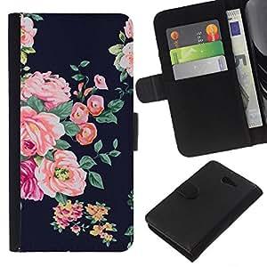 KingStore / Leather Etui en cuir / Sony Xperia M2 / Vignette rustique Floral Textile