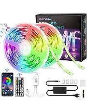15M LED Strip, HOVVIDA Bluetooth Muziek LED-strip voor Kamer, Aangestuurd door APP, IR-afstandsbediening en Controller, 16 Miljoen Kleuren, 28 Stijlen, Tijdmodus