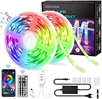 15M Ruban LED RGB Musique, HOVVIDA Bluetooth Bande LED RGB 12V, Contrôlé par APP, IR Télécommande et Contrôleur, 16...