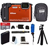 Nikon Coolpix W300 Digital Camera (Orange) with 16GB SD Card & Accessory Bundle