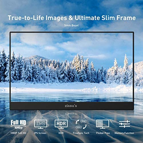 15.6″ Portable Monitor, Zissu's Laptop Dual USB C Monitor, Ultra-Slim Full HD 1080P HDR IPS Screen Gaming Monitor, Eye Care 178° Full View Computer Display, Mini HDMI for Laptop PC Switch PS4 Xbox 518YnMRPmcL