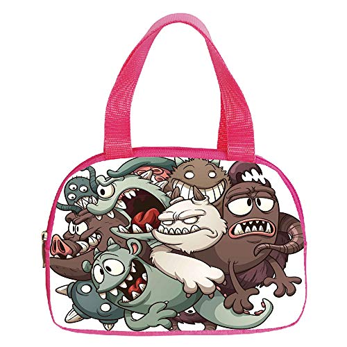 Multiple Picture Printing Small Handbag Pink,Kids,Cute Monsters Reunioun Fictional Scary Fun Characters Humor Graphic,Umber Cream Reseda Green,for Girls,Comfortable Design.6.3